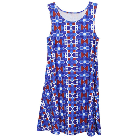 Mosaic Patriot Rose Swing Dress