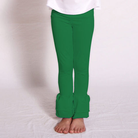 Girls Green Ruffle Leggings