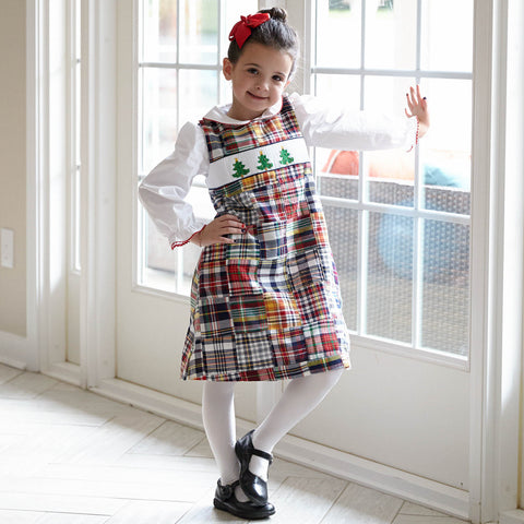 Christmas Patchwork Smock Dress