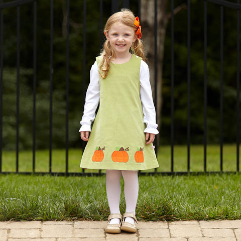 Lime Corduroy Pumpkins Reversible Dress