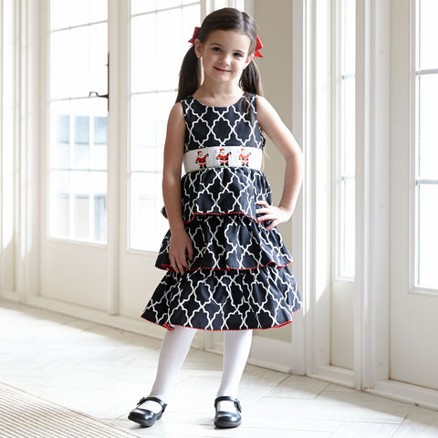 Black Lattice Santa Smocked Dress