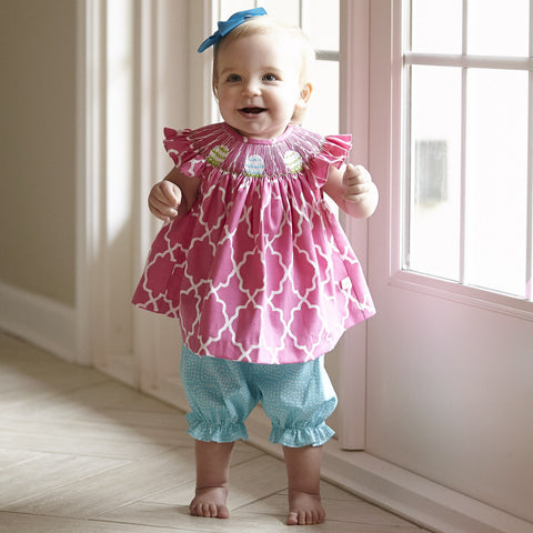 Quatrefoil Easter Egg Smocked Dress with Bloomers