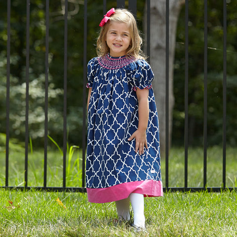 Navy Lattice Smock Bishop Dress
