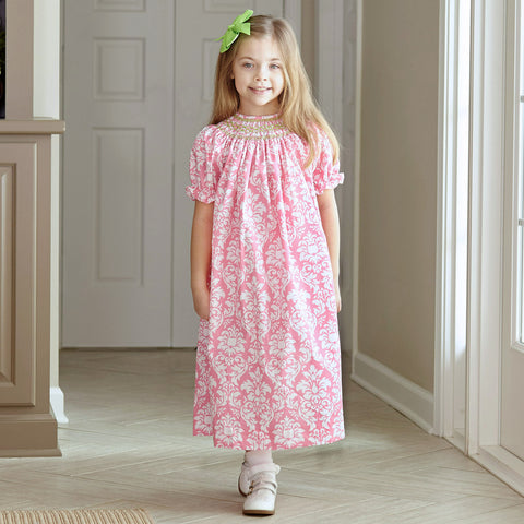 Damask Lime Dot Smocked Bishop Dress