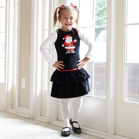 Girls Black Corduroy Santa Dress