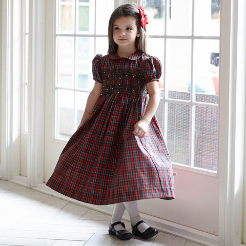 Plaid Collared Smock Dress