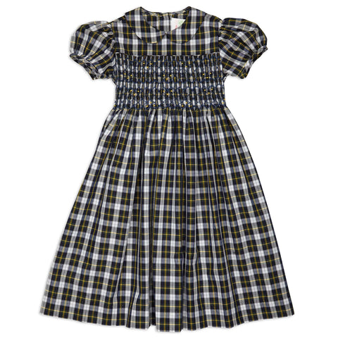 Navy White Plaid Collared Smock Dress