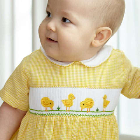 Yellow Smocked Collared Bubble