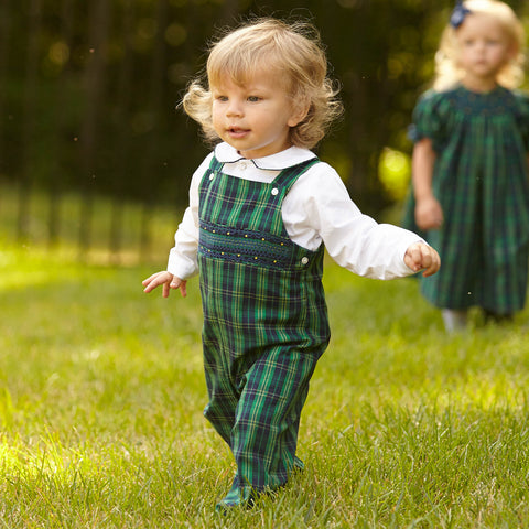 Green Navy Plaid Smock Longall