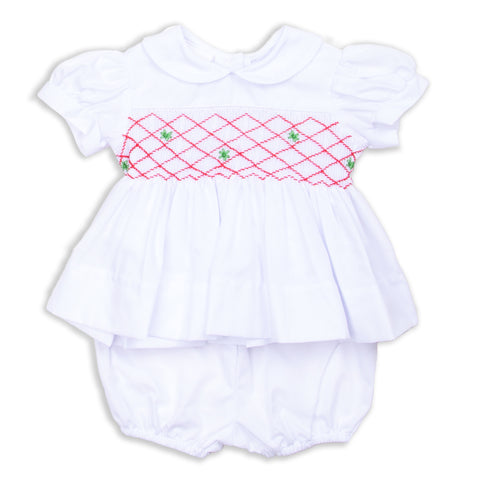 White Pique Collared Smocked Dress with Bloomers