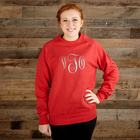 Ladies Vintage Red Sweatshirt with Silver Sparkle Initials