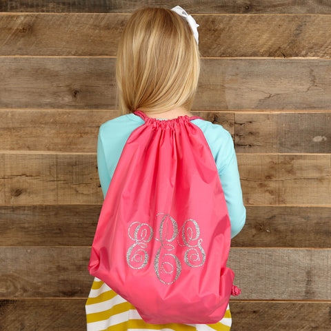 Hot Pink Drawstring Bag w Silver Sparkle Initials