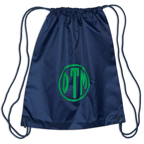 Navy Drawstring Bag w Green Circle Initials