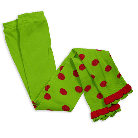 Girls Lime Red Dot Ruffle Footless Tights