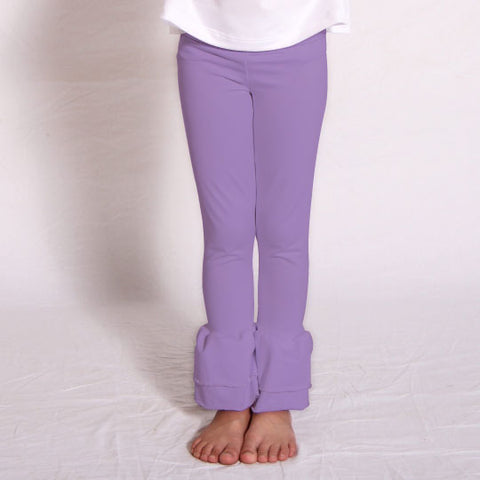Girls Lilac Ruffle Leggings