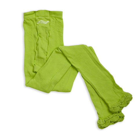 Lime Ruffle Footless Tights