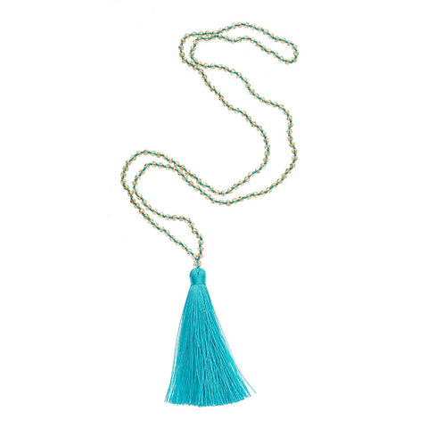 Long Aqua Bombay Necklace