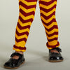 Gold Burgundy Chevron Ruffle Footless Tights