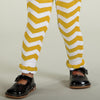 Yellow White Chevron Ruffle Footless Tights