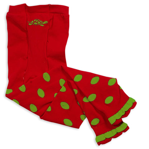 Girls Red Lime Dot Ruffle Footless Tights