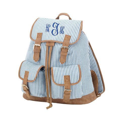 Navy Seersucker Campus Backpack
