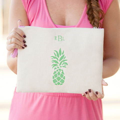 Pineapple Canvas Zip Pouch