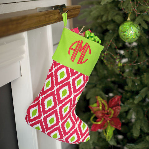 Red Green Ikat Stocking