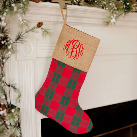 Red Green Plaid Stocking