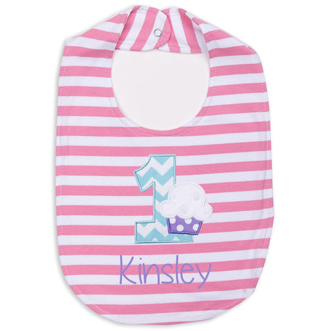 Pink Stripe 1st Birthday Bib