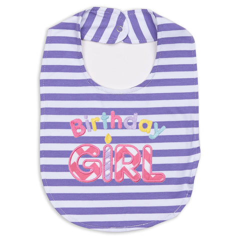 Lavender Stripe Birthday Bib