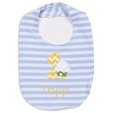 Blue Stripe 1st Birthday Bib