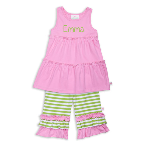 Candy Pink Lime Stripe Capri Set
