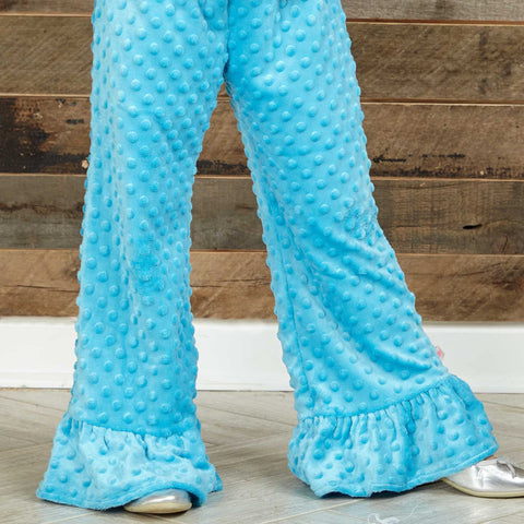 Girls Turquoise Minky Pant