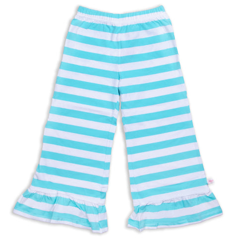Aqua Stripe Wide Leg Pant
