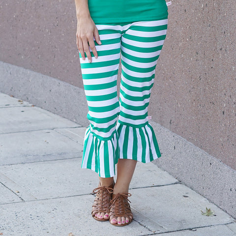 Green Stripe Ruffle Capri