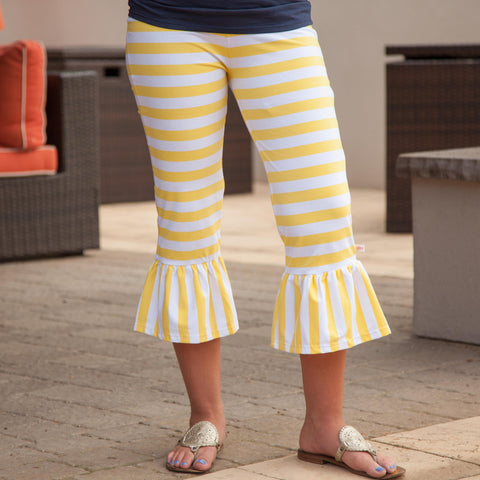 Yellow Stripe Ruffle Capri