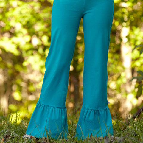 Teal Ruffle Pants