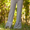 Brown Stripe Ruffle Pants