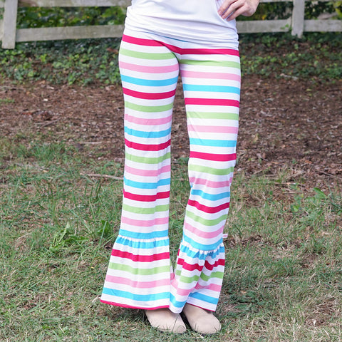 Bright Candy Stripe Ruffle Pants
