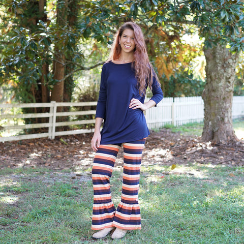 Fall Navy Stripe Ruffle Pants