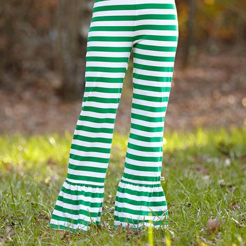 Green Stripe Ruffle Pants
