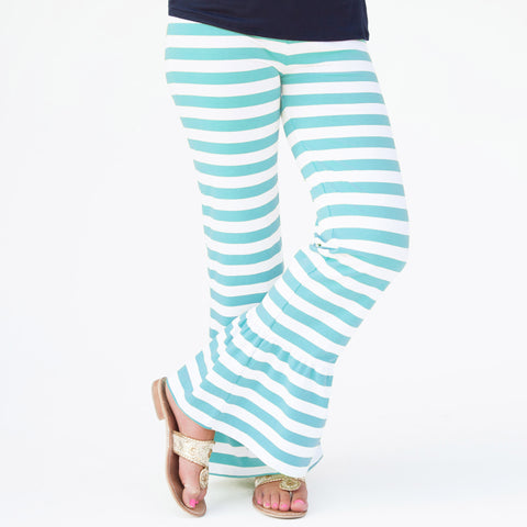 Aqua Stripe Ruffle Pants