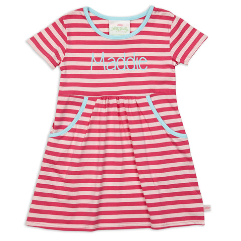 Hot Pink Pink Stripe Aqua Trim Dress