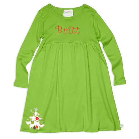 Green Empire Long Sleeve Dress