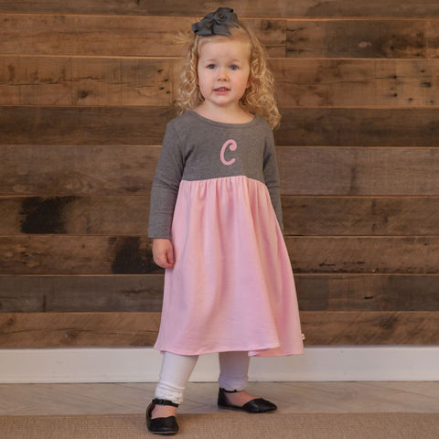 Gray Pink Empire Dress