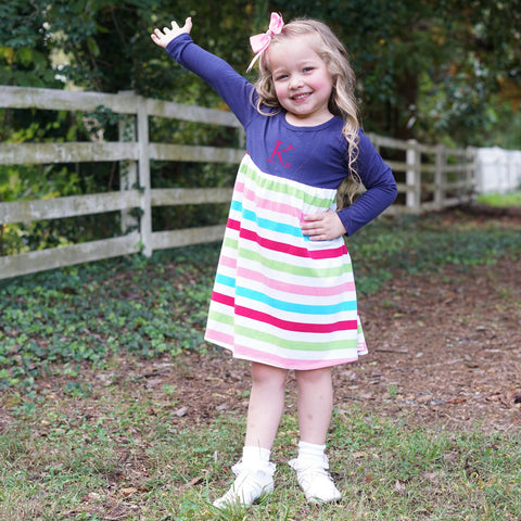 Navy Candy Stripe Empire Dress