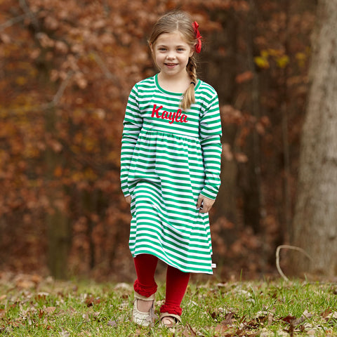 Green Stripe Empire Dress