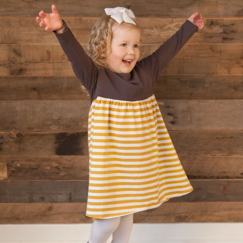 Charcoal Mustard Stripe Empire Dress