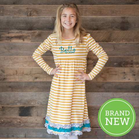 Mustard Stripe Squinchy Dress