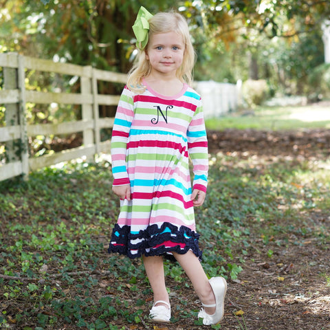 Bright Candy Stripe Squinchy Empire Dress